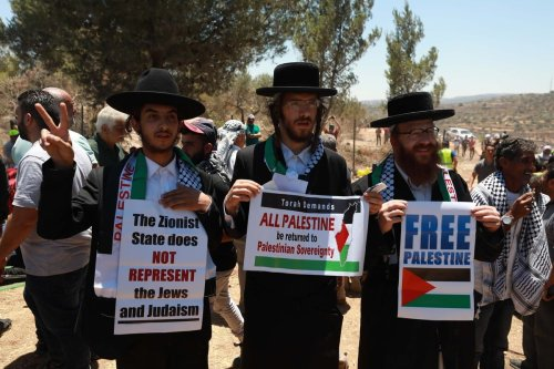 NABLUS, WEST BANK - JULY 02: Members of Neturei Karta Haredi Jews holding banners gather during a protest against Jewish settlements in Beita district of Nablus, West Bank on July 02, 2021. ( İssam Rimawi - Anadolu Agency )