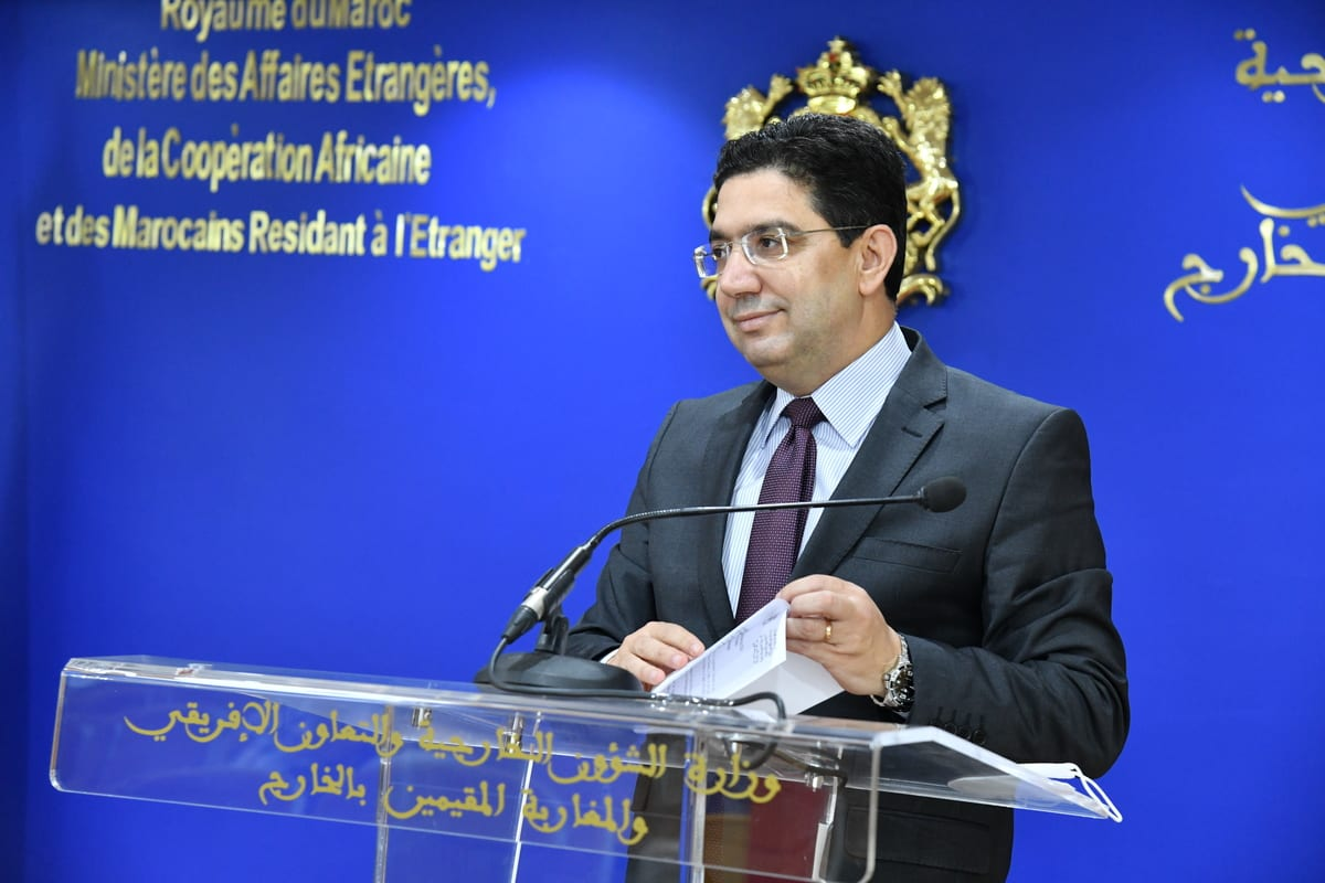 RABAT, MOROCCO - JULY 02: Executive Secretariat of the G5 Sahel, Maman Sambo Sidikou (not seen) and Foreign Minister of Morocco Nasser Bourita hold a joint press conference in Rabat, Morocco on July 02, 2021. ( Jalal Morchidi - Anadolu Agency )