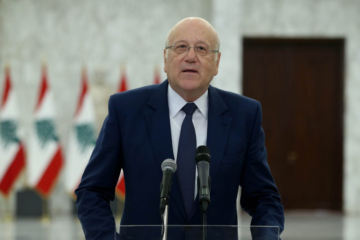 Former Prime Minister Najib Mikati speaks to press after his meeting with Lebanon's president Michel Aoun at Baabda Palace in Beirut, Lebanon on July 26, 2021 [Lebanese Presidency/Anadolu Agency]