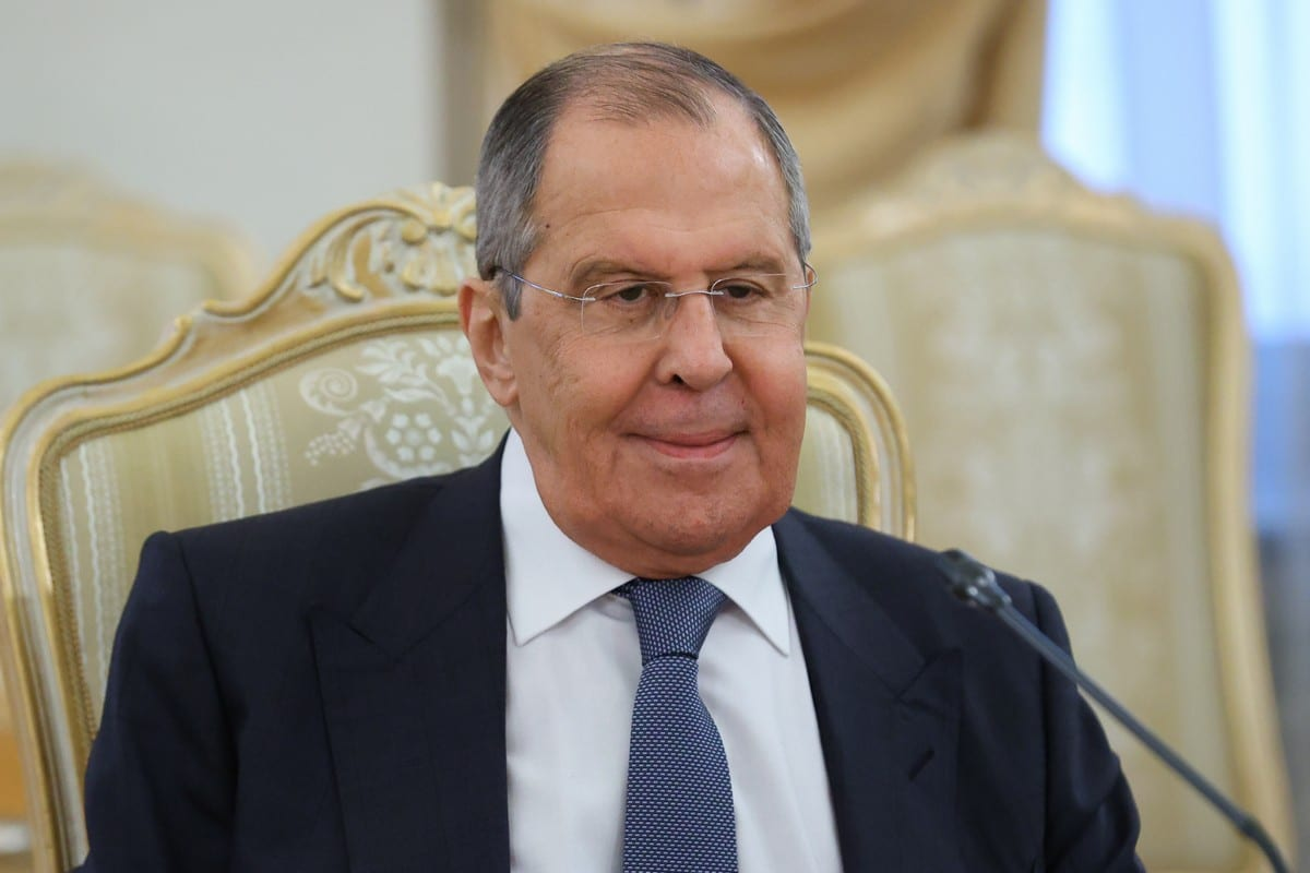 Russian Foreign Minister Sergey Lavrov meets in Moscow, Russia on 2 July 2021 [Russian Foreign Ministry/Anadolu Agency]