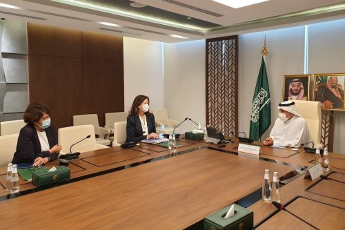 US Ambassador Dorothy Shea and her French counterpart Anne Grillo meet with Saudi officials in Riyadh on 8 July 2021 [usembassybeirut/Twitter]