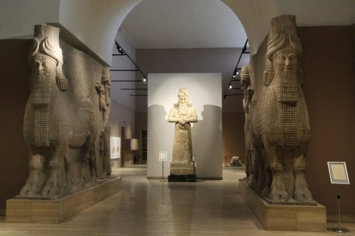 This pictures shows Assyrian antiquities dated around 3000 BC, displayed in the National Museum of Iraq in Baghdad on November 28, 2018. (Photo by SABAH ARAR / AFP) (Photo credit should read SABAH ARAR/AFP via Getty Images)