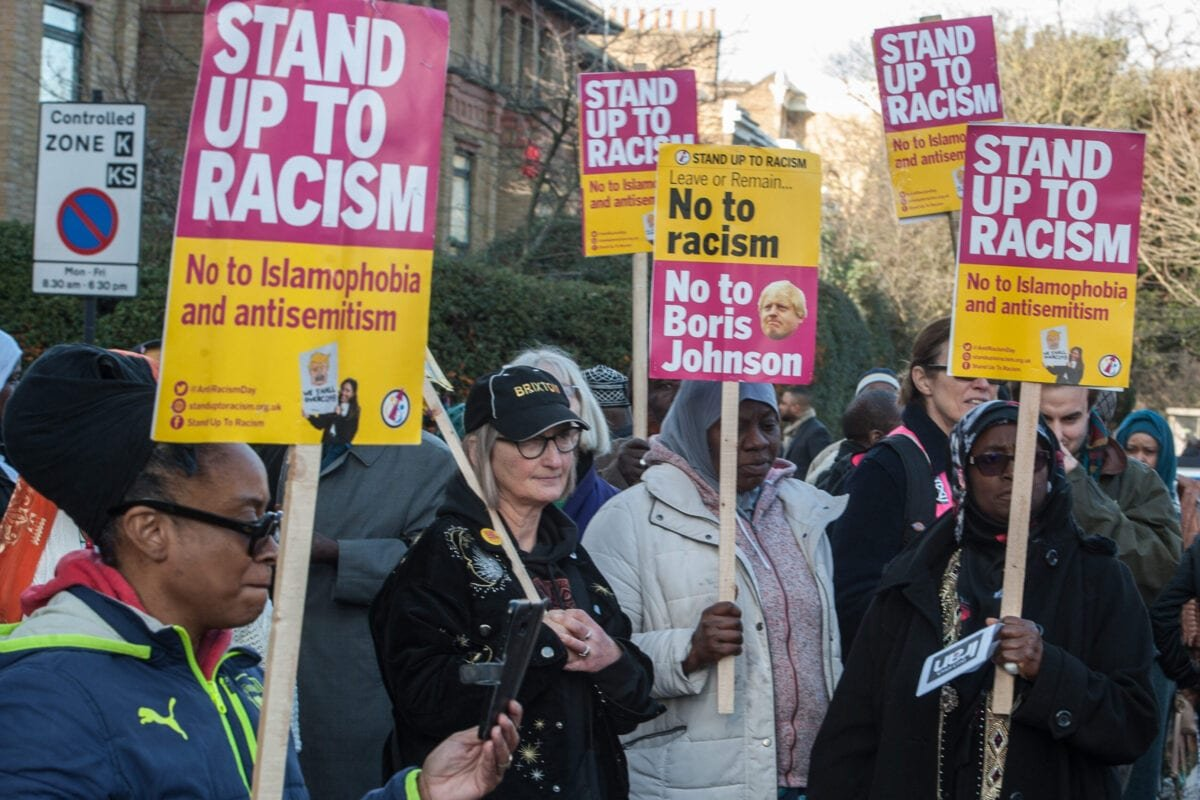 People attend a 'Stand Up To Racism' vigil at the North Brixton Islamic Cultural Centre on January 10, 2020 in London, England [Guy Smallman/Getty Images]
