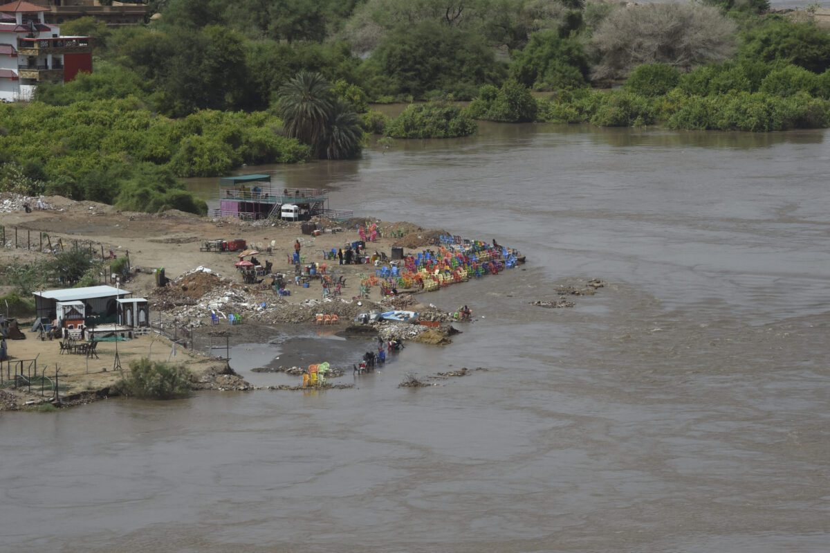 This picture taken on September 14, 2020 shows a general view of flooded parts of the outskirts of Sudan's capital Khartoum. - Sudanese authorities earlier in September had declared a nationwide three-month state of emergency after record-breaking torrential floods, with the country's top officials urging the international community to step their aid efforts. (Photo by Mazen Mahdi / AFP) (Photo by MAZEN MAHDI/AFP via Getty Images)