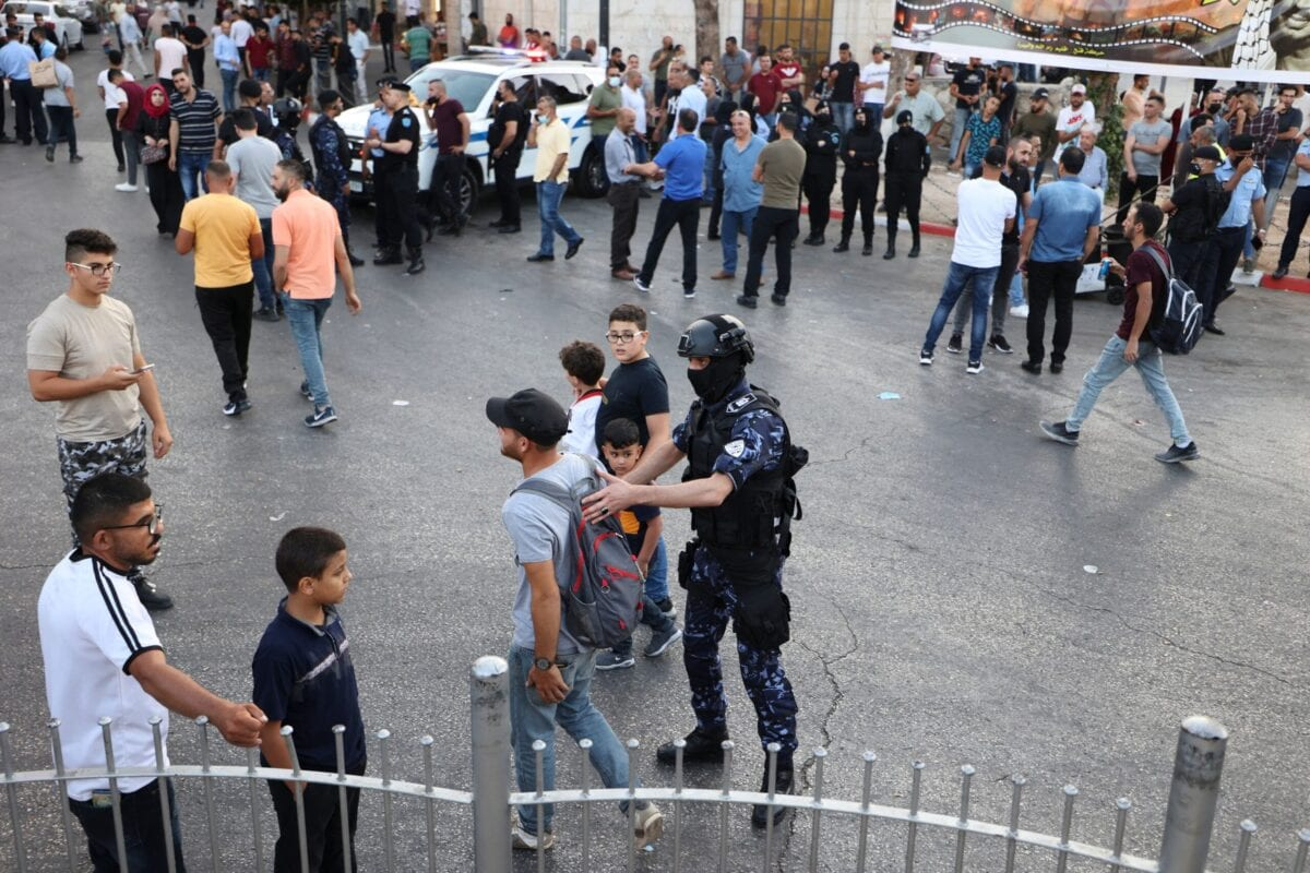 Palestinian police prevent demonstrators from gathering ahead of a planned protest against the Palestinian authority following the death of an activist, in the West Bank city of Ramallah, on July 5, 2021 [ABBAS MOMANI/AFP via Getty Images]