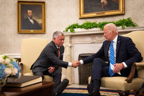 US President Joe Biden and King Abdullah II of Jordan meet in the Oval Office of the White House in Washington, DC, US on Monday, July 19, 2021 [Sarahbeth Maney/The New York Times/Bloomberg via Getty Images]