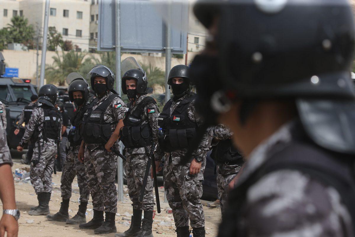 Jordanian police near the border with Israel on 21 May 2021 in al-Karama, Jordan. [Jordan Pix/Getty Images]