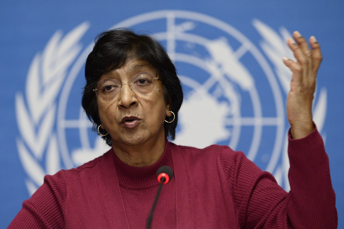 UN High Commissioner for Human Rights Navi Pillay gives a press conference on December 2, 2013 at the United Nations offices in Geneva. [FABRICE COFFRINI/AFP via Getty Images]