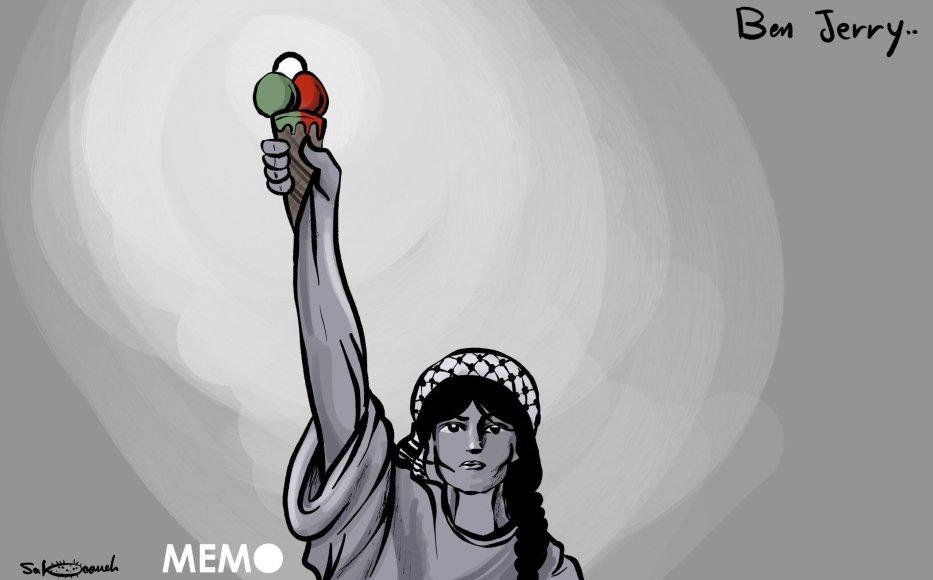Ben & Jerry's to freeze ice-cream sales in West Bank settlements - Cartoon [Sabaaneh/MiddleEastMonitor]