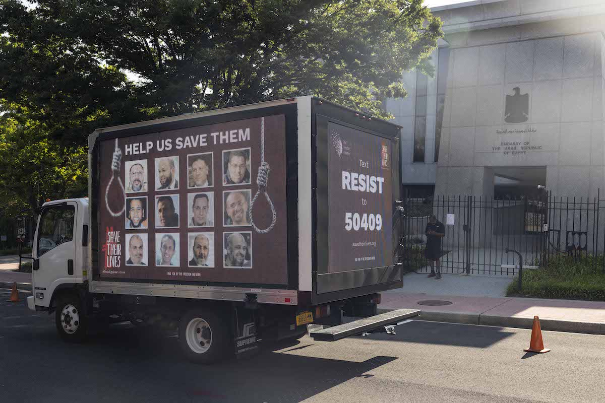 On July 17th and 18th, 2021, a truck ad drove through Washington D.C. and Northern Virginia displaying the faces of 12 political prisoners in Egypt that are facing the death penalty [The Freedom Initiative/Flickr]