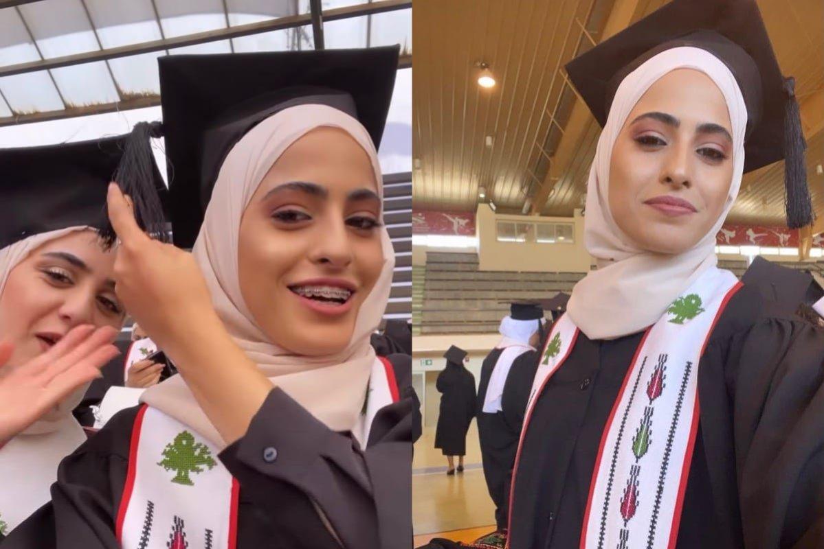 Palestinian activist Muna El-Kurd graduation ceremony, on 30 June 2021 [muna.kurd15 Instagram]