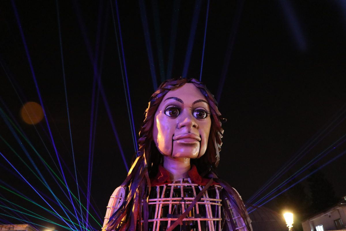 """The 'Little Amal', 3.5-meter tall puppet en route to the UK prepared as part of a project titled """"The Walk"""" which is sharing the life story of little Amal [Adsız Günebakan/Anadolu Agency]"""