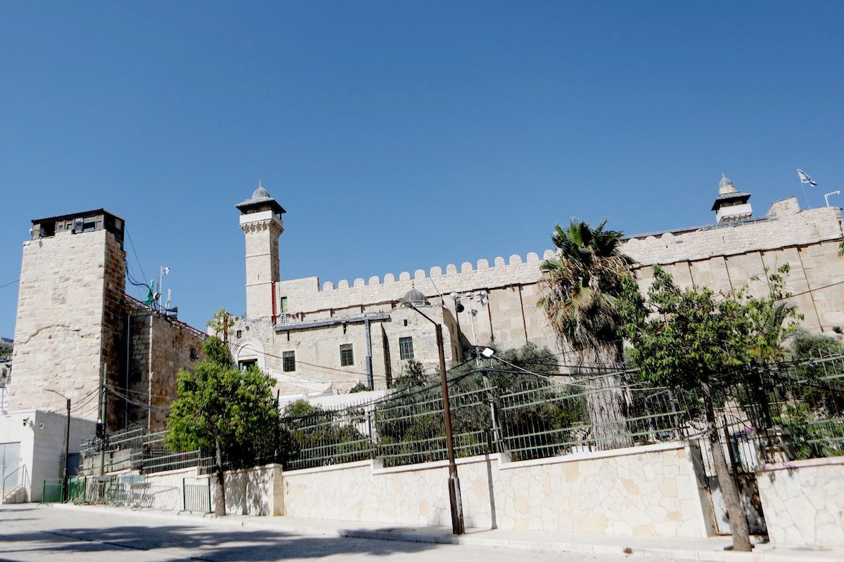 A view of the al-Haram al-Ibrahimi Mosque as Israeli authorities continue construction process of elevator inside in Hebron, West Bank on August 10, 2021 [Mamoun Wazwaz/Anadolu Agency]