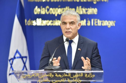 Israeli Foreign Minister Yair Lapid makes a speech as he holds a joint press conference with Moroccan Foreign Minister Nasser Bourita (not seen) in Rabat, Morocco on August 11, 2021 [Jalal Morchidi/Anadolu Agency]