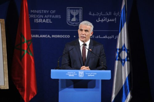 Israeli Foreign Minister Yair Lapid holds a press conference in Casablanca, Morocco on August 12, 2021 [Jalal Morchidi / Anadolu Agency]