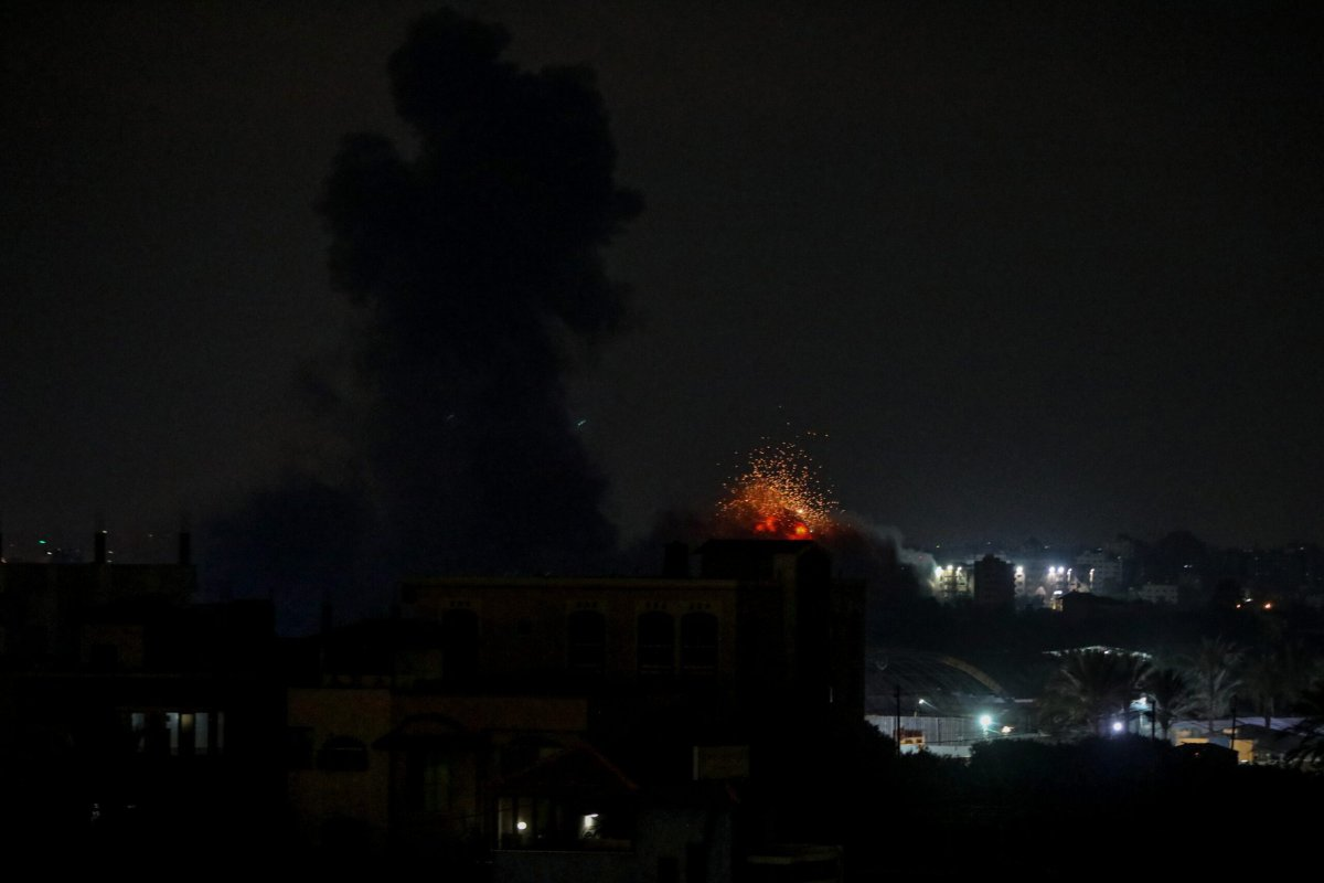 Smoke rises after Israeli army carried out airstrikes on Gaza City, Gaza on August 22, 2021 [Ali Jadallah/Anadolu Agency]