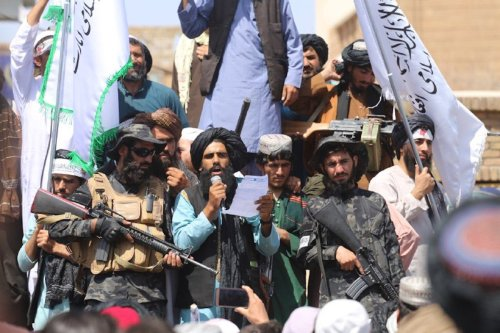 HERAT, AFGHANISTAN - AUGUST 31: Taliban members gather and make speeches in front of Herat governorate after the completion of the U.S. withdrawal from Afghanistan, in Herat, Afghanistan on August 31, 2021. ( Mir Ahmad Firooz Mashoof - Anadolu Agency )