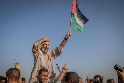 14 Palestinians were injured during protests calling for the end of Israel's brutal siege on the Gaza Strip on 25 August 2021 [Mohammed Asad/Middle East Monitor]