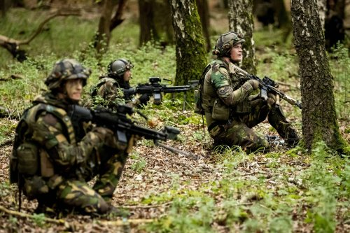Dutch soldiers take part in the Zebra Sword exercises on October 27, 2020 [SEM VAN DER WAL/ANP/AFP via Getty Images]