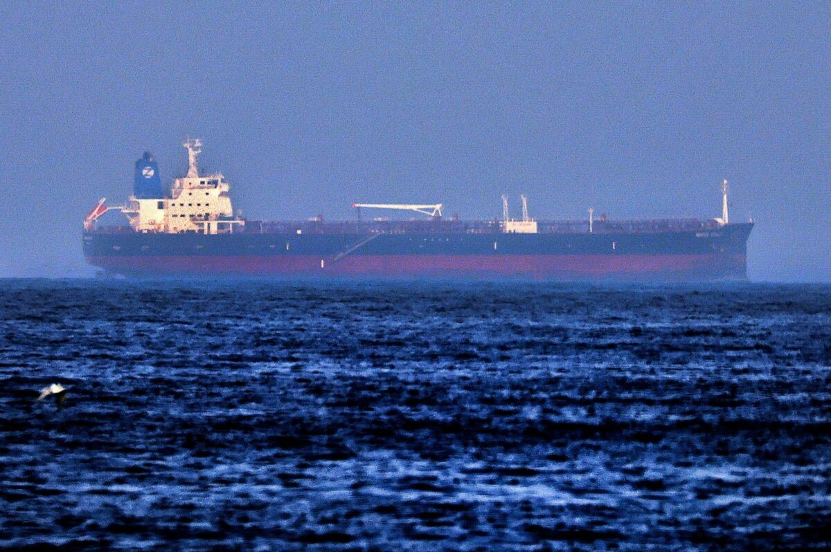 A picture taken on August 3, 2021 shows the Israeli-linked Japanese-owned tanker MT Mercer Street, off the port of the Gulf Emirate of Fujairah in the United Arab Emirates [KARIM SAHIB/AFP via Getty Images]