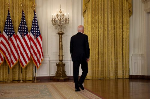 US President Joe Biden walks away without taking questions after delivering remarks on the worsening crisis in Afghanistan from the East Room of the White House August 16, 2021 in Washington, DC [Anna Moneymaker/Getty Images]