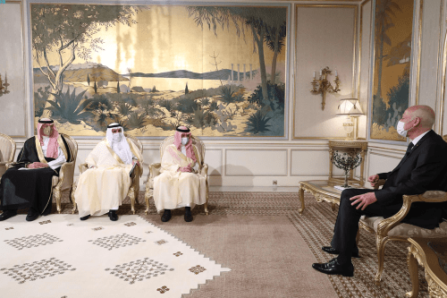 Tunisian President Kais Saied received Saudi minister of state for African affairs, Ahmad bin Abdul Aziz Qattan, and the accompanying delegation on 23 August, 2021 [@arabnews/Twitter]