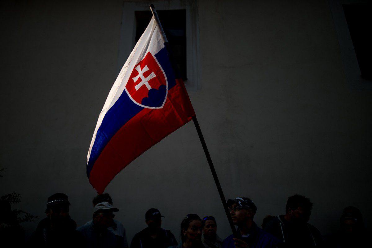 The Slovakian flag in Bratislava, Slovakia, on 9 April 2019 [VLADIMIR SIMICEK/AFP/Getty Images]