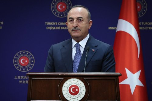 ANKARA, TURKEY - SEPTEMBER 02: Turkish Foreign Minister Mevlut Cavusoglu and Dutch Minister for Foreign Trade and Development Cooperation Sigrid Kaag (not seen) hold a joint press conference after their meeting in Ankara, Turkey on September 02, 2021. ( Cem Özdel - Anadolu Agency )