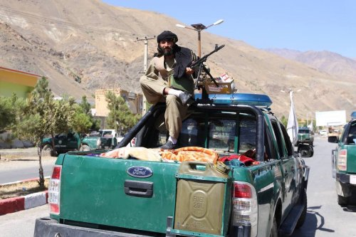 PANJSHIR, AFGHANISTAN - SEPTEMBER 6: Taliban members patrol after they took over Panjshir Valley, the only province the group had not seized during its sweep last month in Afghanistan on September 6, 2021. ( Bilal Güler - Anadolu Agency )