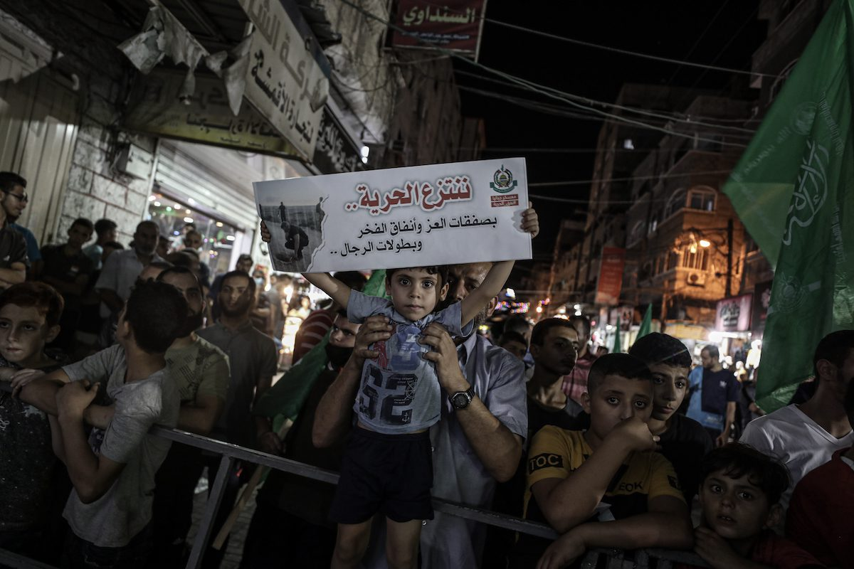 Hundreds of Palestinians stage a demonstration to protest Israel's oppression of Palestinian prisoners in jails and to support the detainees, on 8 September 2021 in Jabalia, Gaza. [Ali Jadallah - Anadolu Agency]