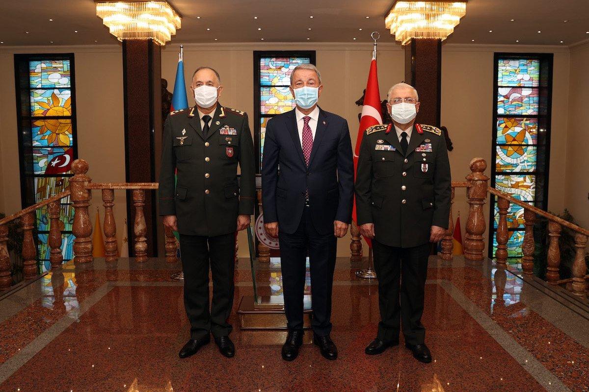 ANKARA, TURKEY - SEPTEMBER 13: Turkish National Defense Minister Hulusi Akar (R) receives Chief of the General Staff of Azerbaijani Armed Forces, Karim Valiyev (L) in Ankara, Turkey on September 13, 2021. Turkey's Chief of General Staff Gen. Yasar Guler (R) also attended the meeting. ( Arif Akdoğan - Anadolu Agency )