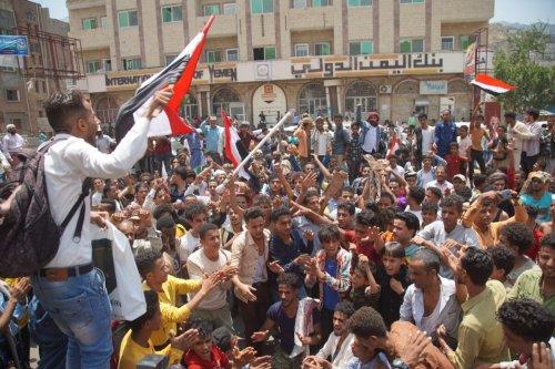 Yemenis protest against the government after high depreciation of Yemeni Rial in Taez, yemen on September 17, 2021 [Abdulnasser Alseddik/Anadolu Agency]