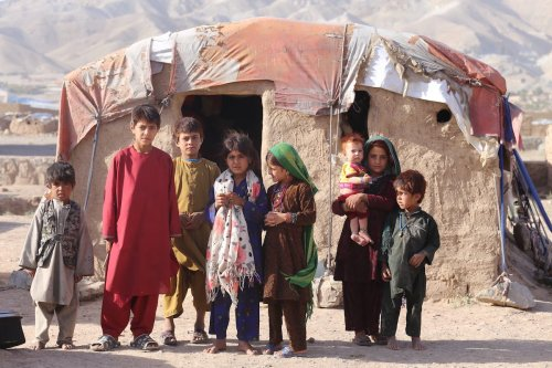 Displaced children are seen a camp in Herat, Afghanistan on 16 September 2021 [Stringer/Anadolu Agency]