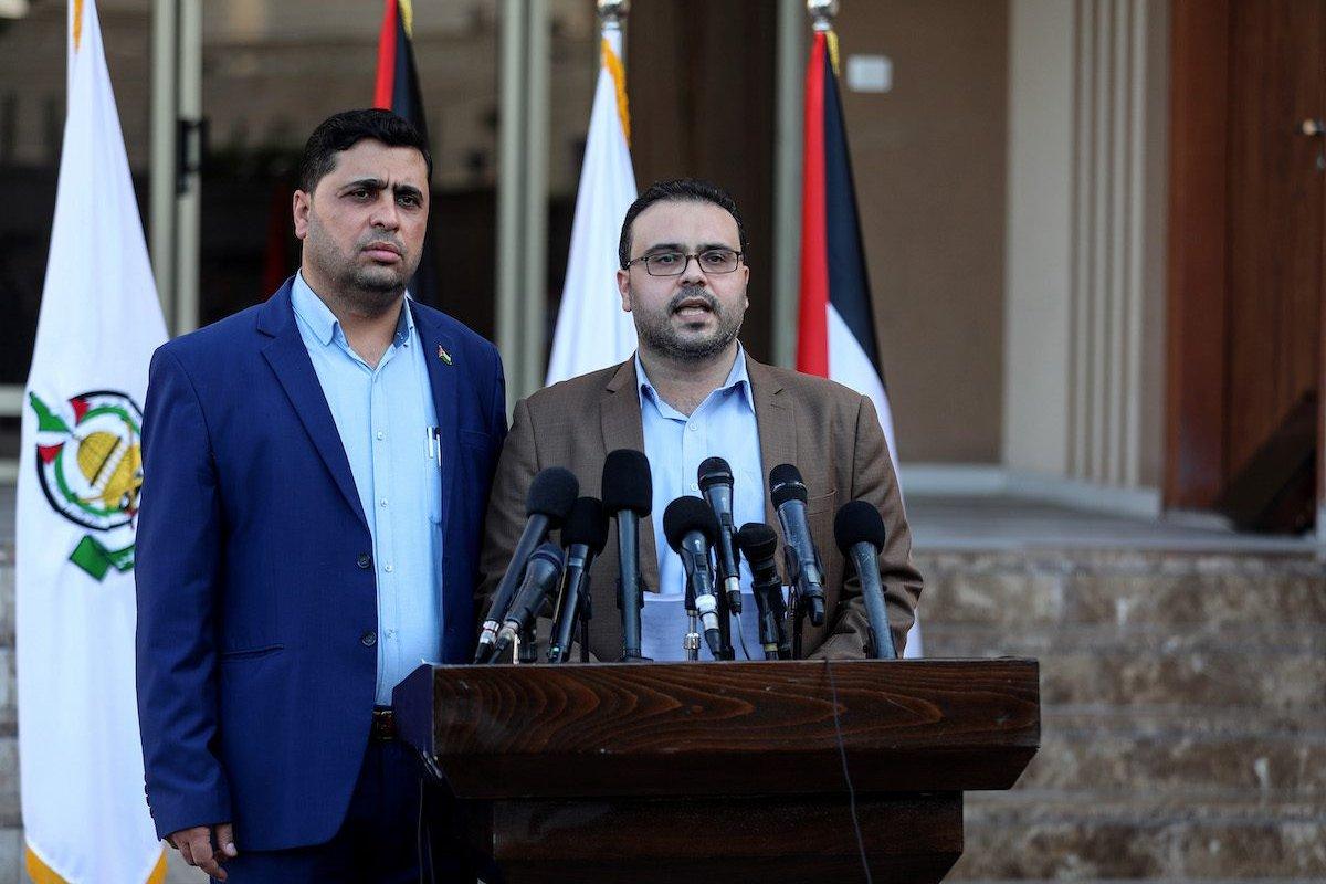 Hamas spokesman Hazem Qasim holds a press conference in Gaza City, Gaza on 22 September 2021. [Mustafa Hassona - Anadolu Agency]