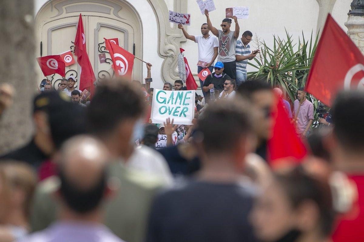 People stage a protest against President Kays Said in Tunis, Tunisia on 26 September 2021 [Yassine Gaidi/Anadolu Agency]