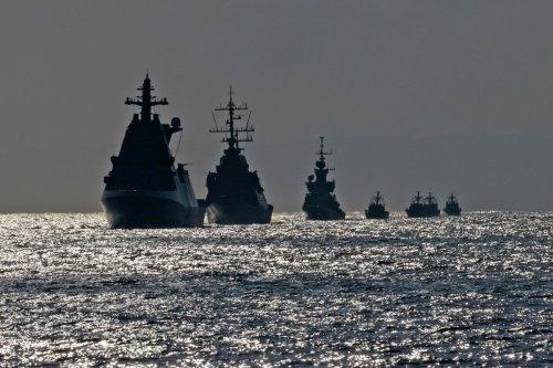 A flotilla of Israeli navy ships on 10 August 2021 [MENAHEM KAHANA/AFP/Getty Images]