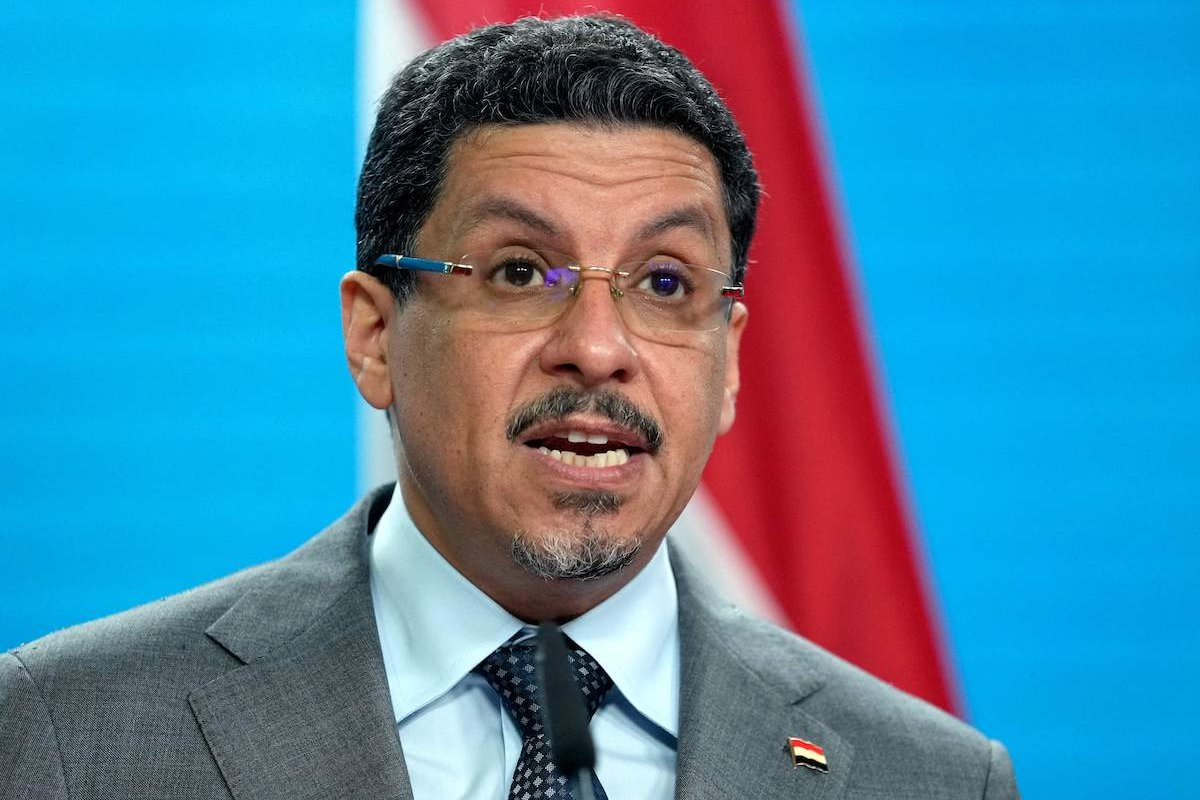 Yemeni Foreign Minister Ahmad Awad Bin Mubarak addresses the media during a joint press conference with his German counterpart prior to a meeting in the German Foreign Office in Berlin, on 30 June 2021. [MICHAEL SOHN/POOL/AFP via Getty Images]