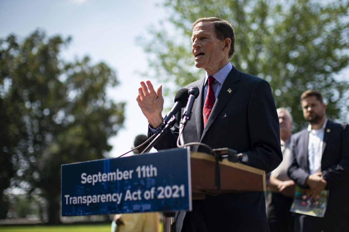Senator Richard Blumenthal, a Democrat from Connecticut, speaks during a news conference on the September 11th Transparency Act on Capitol Hill in Washington, D.C., U.S., on Thursday, Aug. 5, 2021. Two senators are bargaining with the White House on a bipartisan proposal to give states flexibility to use some unspent pandemic relief funds on infrastructure projects, which would free up billions of federal dollars. Photographer: Al Drago/Bloomberg via Getty Images