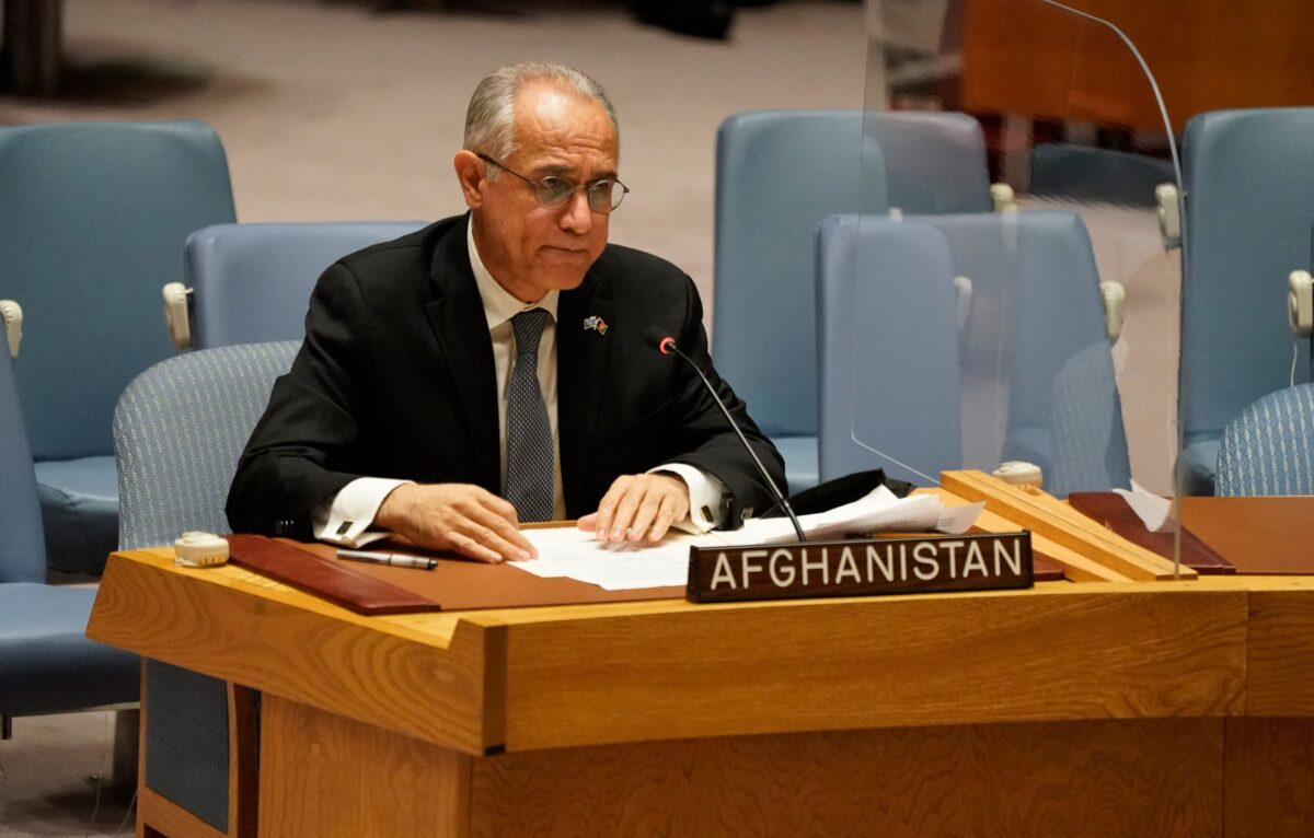 """Permanent Representative of Afghanistan to the United Nations, Ghulam M. Isaczai speaks during a UN security council meeting on Afghanistan on August 16, 2021 at the United Nations in New York. - United Nations chief Antonio Guterres called on the world to work together on August 16, 2021 to """"suppress the global terrorist threat in Afghanistan."""" """"The international community must unite to make sure that Afghanistan is never again used as a platform or safe haven for terrorist organizations,"""" Guterres told an emergency UN Security Council meeting on Afghanistan. (Photo by TIMOTHY A. CLARY / AFP) (Photo by TIMOTHY A. CLARY/AFP via Getty Images)"""