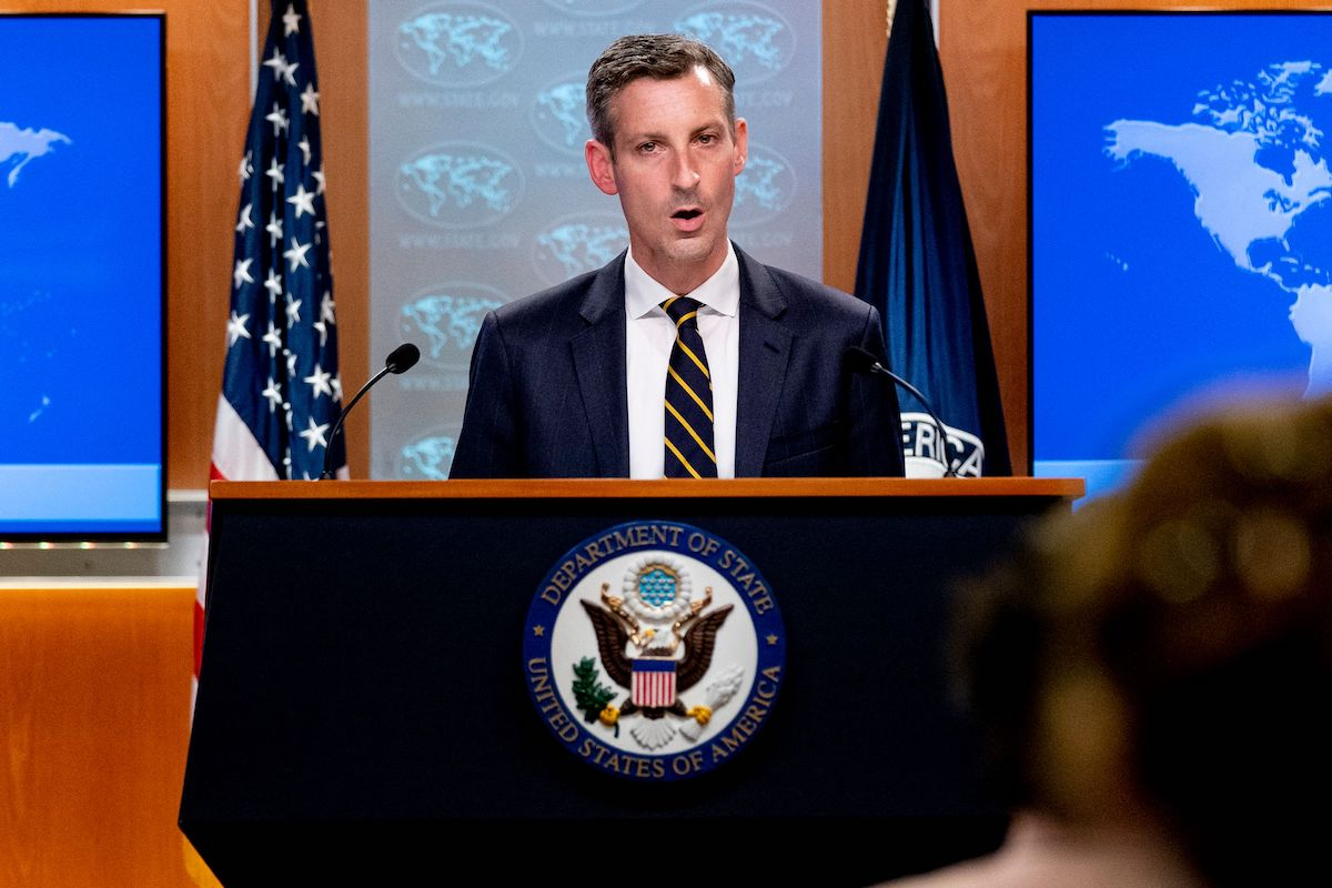 US State Department spokesman Ned Price speaks on the situation in Afghanistan at the State Department in Washington, DC, on 18 August 2021. [ANDREW HARNIK/POOL/AFP via Getty Images]
