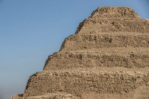 This picture taken on September 14, 2021 shows a view of the side of the step pyramid of the third dynasty Ancient Egyptian Pharaoh Djoser (27th century BC) at the Saqqara Necropolis south of Egypt's capital Cairo. (Photo by Khaled DESOUKI / AFP) (Photo by KHALED DESOUKI/AFP via Getty Images)