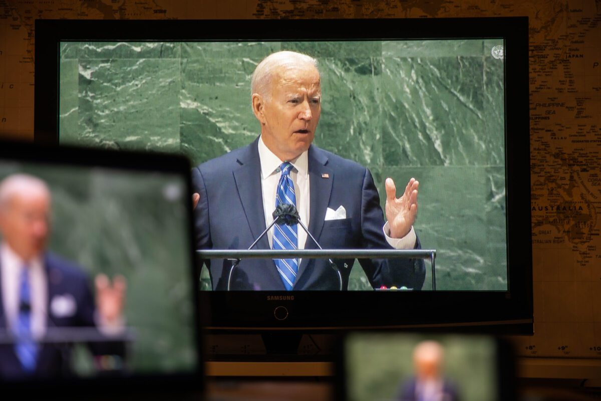 U.S. President Joe Biden speaks during the United Nations General Assembly via live stream in New York, U.S., on Tuesday, Sept. 21, 2021. A scaled-back United Nations General Assembly returns to Manhattan after going completely virtual last year, but fears about a possible spike in Covid-19 cases are making people in the host city less enthusiastic about the annual diplomatic gathering. Photographer: Michael Nagle/Bloomberg via Getty Images