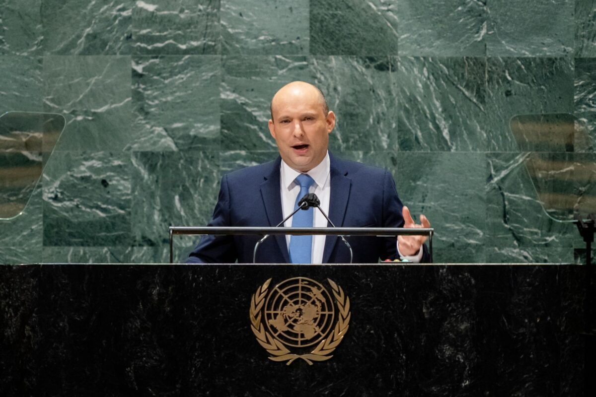 Israels prime minister Naftali Bennett addresses the 76th Session of the United Nations General Assembly, on September 27, 2021, at UN headquarters in New York. (Photo by John Minchillo / POOL / AFP) (Photo by JOHN MINCHILLO/POOL/AFP via Getty Images)