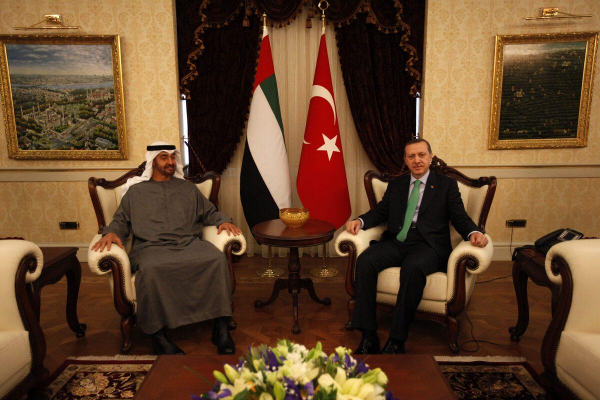 Abu Dhabi's Crown Prince Sheikh Mohammed bin Zayed Al Nahyan (L) meets with Turkey's President Recep Tayyip Erdogan in Ankara [UMIT BEKTAS/AFP via Getty Images]
