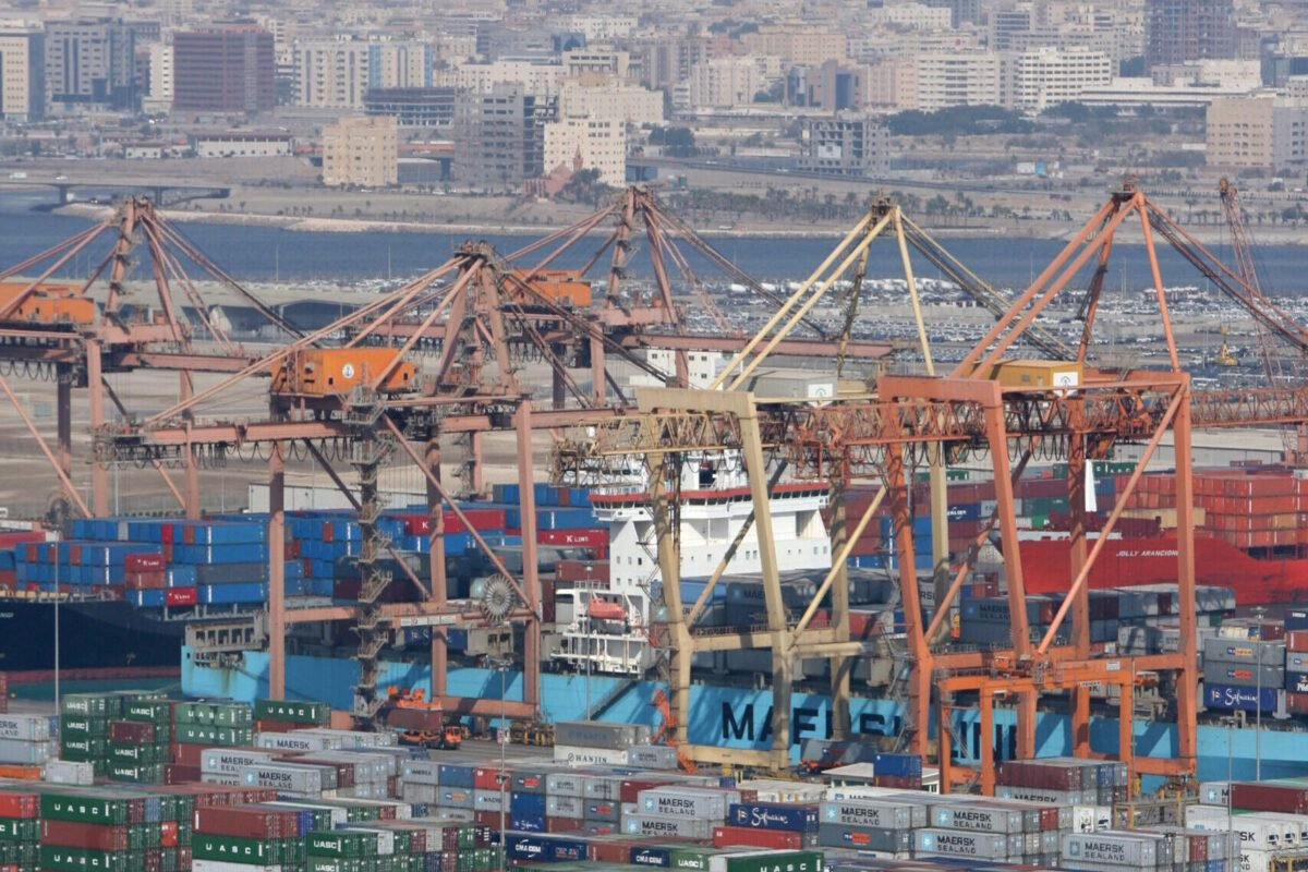 Containers are seen on the pier of the Jeddah Port, 13 December 2007 [ROSLAN RAHMAN/AFP via Getty Images]