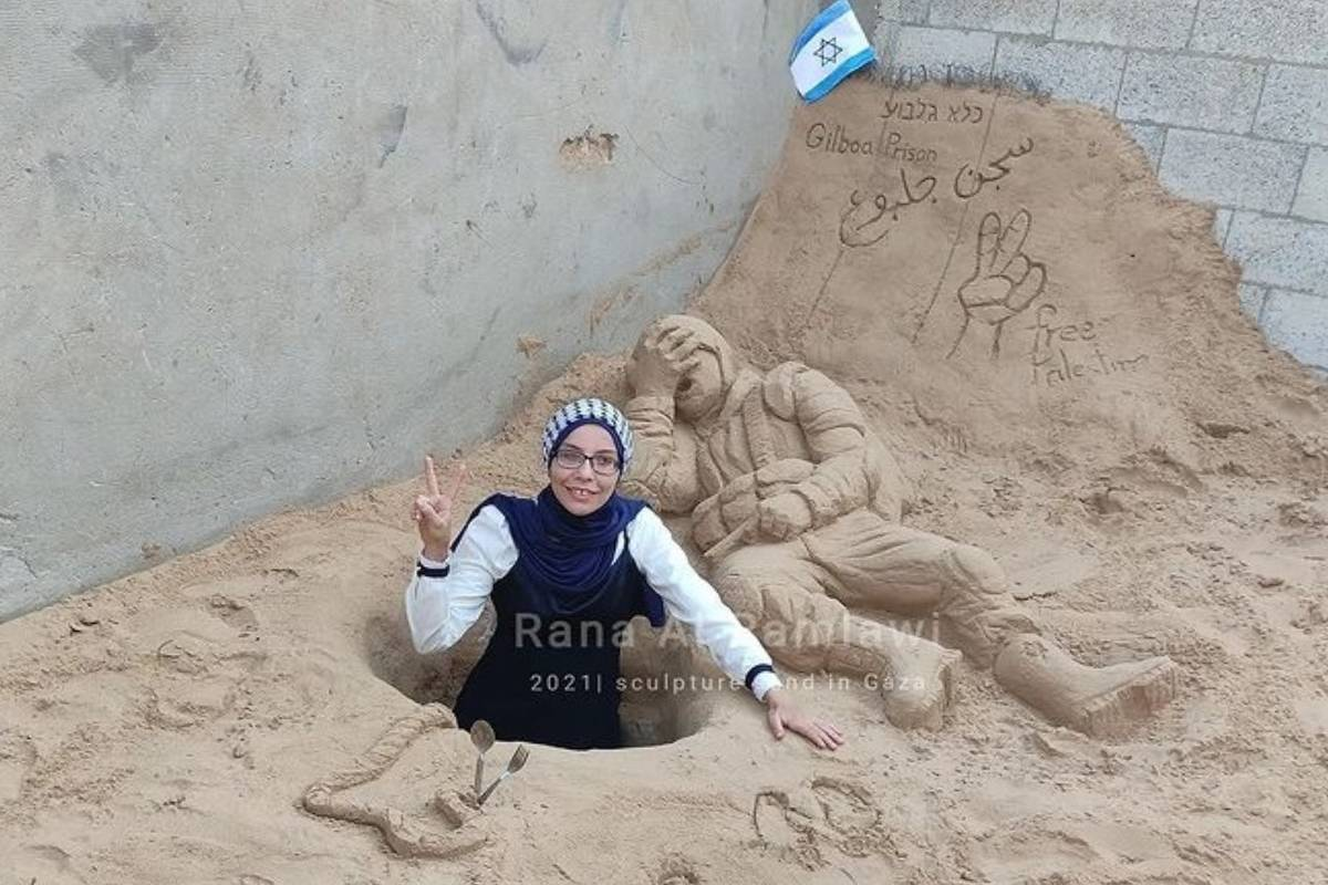 Palestinian sand artist, 29 September 2021 Rana Al-Ramlawi [rana_alramlawi/Instagram]
