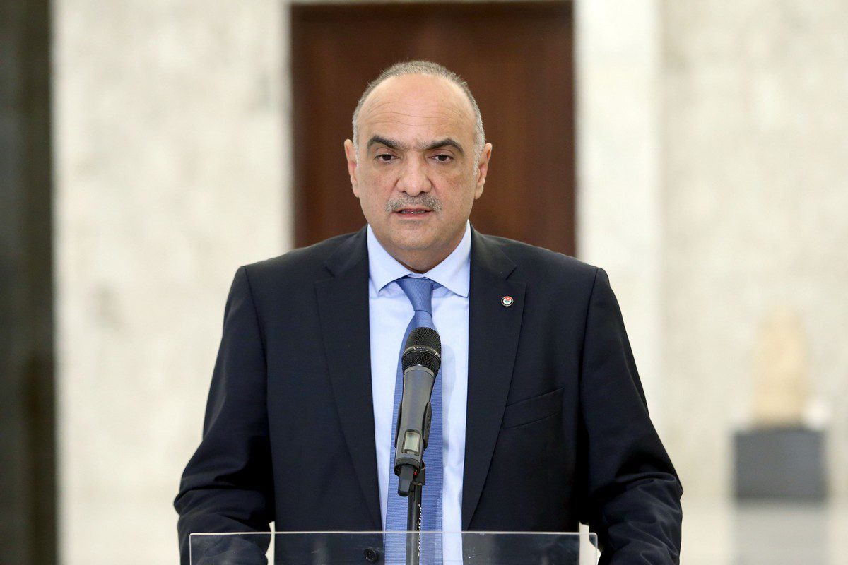 Prime minister of Jordan Bisher Al Khasawneh in Beirut, Lebanon on September 30, 2021. [Lebanese Presidency - Anadolu Agency]