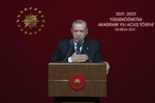 Turkish President Recep Tayyip Erdogan attends the opening ceremony of 2021-2022 Higher Education Academic Year at Bestepe National Congress and Cultural Center in Ankara, Turkey on 5 October 2021. [Ali Balıkçı - Anadolu Agency]