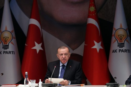 Turkish President and leader of Justice and Development (AK) Party Recep Tayyip Erdogan chairs the ruling AK Party's Central Decision and Executive Board (MKYK) meeting in Ankara, Turkey on 5 October 2021. [Murat Kula - Anadolu Agency]