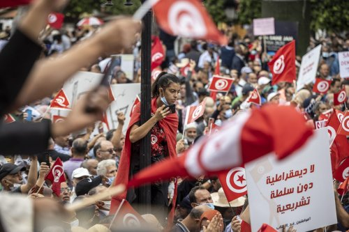 Demonstrators gather at to protest against Tunisian President Kais Saied in Tunis, Tunisia on 10 October 2021 [Nacer Talel/Anadolu Agency]